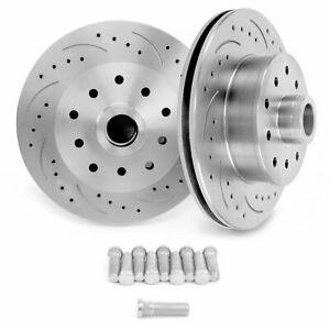 """Mustang II Front Disc Brake Crossed Drilled & Slotted Rotors 11"""" 5x5 5x5.5 pro"""