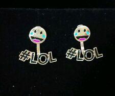 Earrings^ Gold tone 2-piece Emoji LOL stud