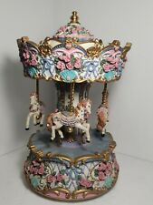 Vintage Wind Up Horse Flowers Musical Carousel