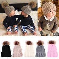 Baby Boys Girls Warm Beanie Ski Hat Winter Knitted Wool Faux Fur Pom Bobble Hat