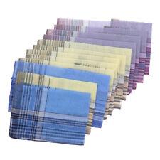 12x Men Cotton Plaid Handkerchief Formal Suits Decorative Square Grid Hanky