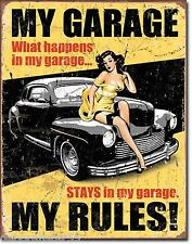 Large My Garage My Rules Vintage Retro Metal Tin Sign New Dad Gift 1671