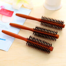 Pro Anti-static Boar Bristle Hair Brush Comb Round Wood Handle Hairdressing Tool