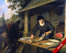 WOMAN CLEANING SELLING FISH AT THE MARKET PAINTING DUTCH ART REAL CANVAS PRINT