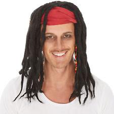 Perücke lange schwarze Rasta-Zöpfe mit Perlen Haarband Pirat Piratenbraut Reggae