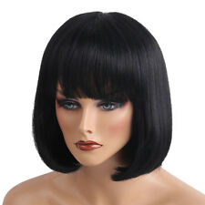 Human Hair Wig&Bangs Short Bob Full Black Wigs With Hairbrush Comb+Hair Clip