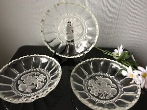 Walther Glas Germany Crystal Glass Plates Set Of 3 Dessert Cake Fruits Dishes