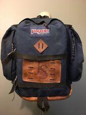 Vtg 70s 80s Jansport Usa Blue Backpack Day Pack Leather Bottom Hiking Book Bag