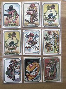 Lot of 9 Donruss 1973 Super Freaks Monster Baseball Sticker Cards