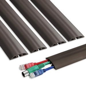 6.5 ft Floor Cable Cover - Straight Cord Protector - Durable Low Profile PVC - 3