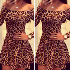 US Fashion Women Long Sleeve Leopard Cocktail Dress Bodycon Dress Party Dress S