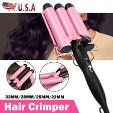 Triple 3 Barrel Ceramic Dry Hair Crimper Iron Salon Styler Curling Curler Waver