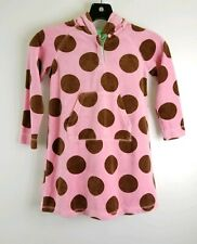 Mini Boden 5/6 Y  Pink Polka Kangaroo Pockets Hooded Swim Suit Cover