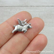 Silver Flying Pig Charm - When Pigs Fly - Pig with Wings Pendant NEW