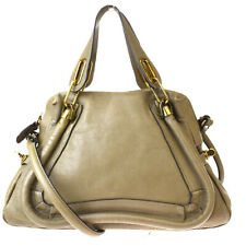 Authentic CHLOE Paraty Logo 2Way Shoulder Hand Bag Leather Khaki Italy 88BQ832