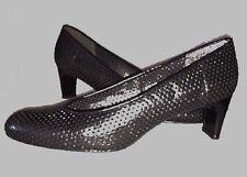 Stuart Weitzman Women's Black Perforated Leather Low Heel Pump Size 11 N Narrow