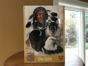 """Jigsaw Puzzle B.A. Roberts Master Pieces """"One Spirit"""" 550 pc.18""""x24"""" Wolf Eagle"""