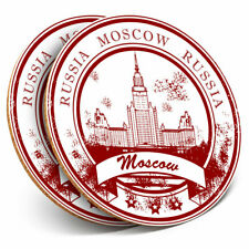 2 x Coasters - Moscow Russian Travel Stamp Home Gift #5906