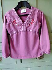 Next age 5 girls pretty sequin & bead pink cotton long sleeve top t-shirt