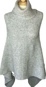 Nili Lotan medium poncho sweater gray tight knit alpaca wool turtleneck wrap