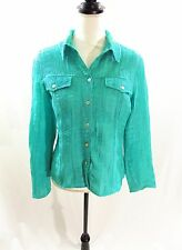 SCOTT TAYLOR Women's Blue Green Textured Shimmer Button Front Blouse Size PL
