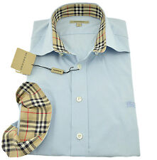 $285 BURBERRY London Pale Blue Casual Dress Men's Shirt Size S NEW COLLECTION