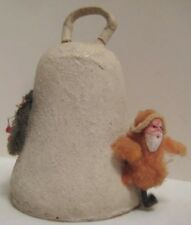 Old Cardboard Christmas Bell Candy Container w/ Miniature Cotton Santa Clay Face
