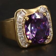 Zirconia Cocktail Ring Size 9 - 8.5g Sterling Silver - Purple & White Cz Cubic
