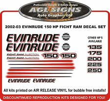 2002 2003 EVINRUDE FICHT RAM 150 HP Decal set reproductions 135 175 200 225 250