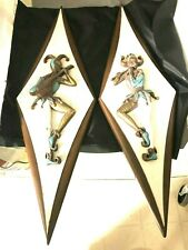 RARE Mid-Century Modern Diamond Shaped Wood & Ceramic Harlequin Wall Art!