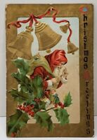 Christmas Greeting St Nicholas Santa Red Coat Gold Gilded Bells 1910 Postcard D6