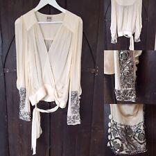 Haute Hippie BLOUSE TOP Cream Silver Black Beaded Long Sleeve Silk Bling Cuffs M