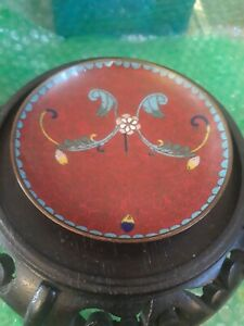 """Antique Art Nouveau Chinese Small Round Cloisonne Dish Tray 3 11/16"""""""