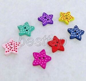 100pcs Mixed Color Small Star Shape Wooden Buttons Fit Sewing/Scrapbook snk254