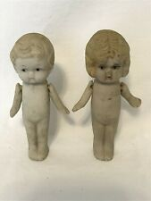 Bisque Boy and Girl dolls movable arms frozen legs made Japan 1930s? 3.25 inches