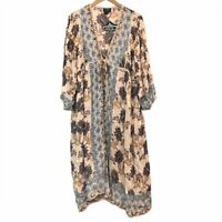 NEW NWT ANGIE Beige Blue Mustard Boho Floral Tie Rayon Duster Kimono Top Medium