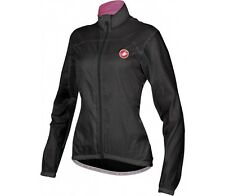 Castelli VELO WOMENS CYCLING JACKET Large, Water Repellent, Full Zip Front BLACK