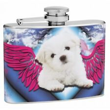 4oz Fluffy Puppy with Wings Hip Flask