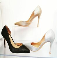 LADIES PARTY COURT SHOES STILETTO HEELS GLITTER DETAILS HIGH FASHION SIZE 3-8