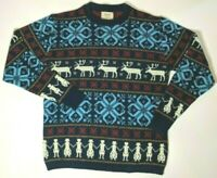 Vintage Jersild Winter Sweater Snow Deer Blue Red Acrylic Thick Knit Men S USA