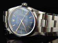 Pre-Owned Mens Rolex 34 MM Air King Oyster Stainless Steel Blue Dial Watch 14000