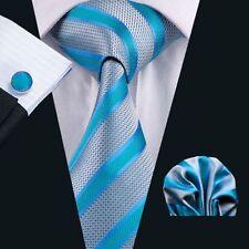 Silber Türkis Blau Streifen Seide Krawatte Set Einstecktuch Knöpfe Hochzeit K384