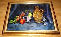 VINTAGE WINE CHALICE CUP FIGURAL VESSEL PITCHER GRAPES FRUIT STILL LIFE PAINTING