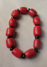 Chunky Dyed Red Coral & Black Crystal Stretch Bracelet