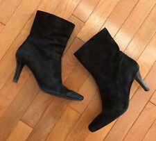 Nine West Women's Half Calf Boots Black Suede Heels Square Toe Flex Sole Sz 8.5