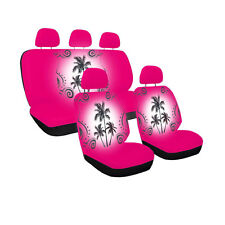 New Hot Pink Tropical Palm Trees Universal fit Front Back Car Truck Seat Covers