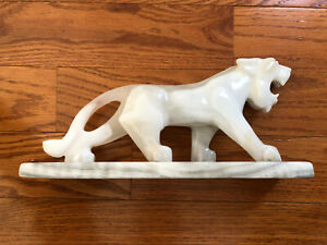 White stone panther sculpture