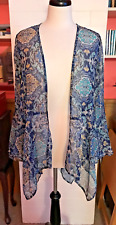 HOLLISTER MULTICOLOR SHEER OPEN FRONT CARDIGAN W/ANGLED FLOUCE SLEEVES, SMALL