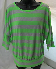 Spoiled, Neon Green/Gray Striped Top, New with Tags