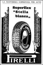 PUBBLICITA' GOMME PNEUNATICI PIRELLI STELLA BIANCA INGRESSO CANCELLO LUSSO 1932
